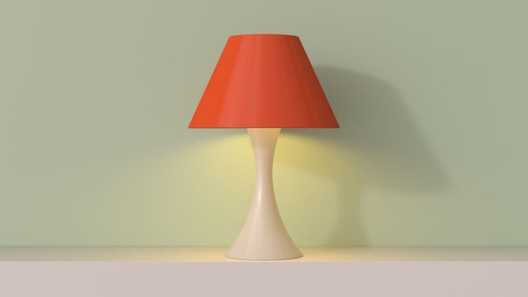 Pink Lampshade on green background