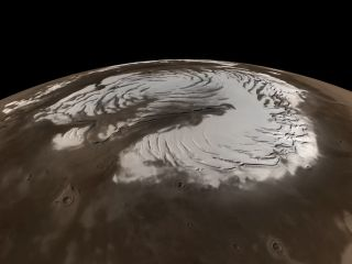 This true-color image of Mars' north pole incorporates data from NASA's Mars Global Surveyor spacecraft.