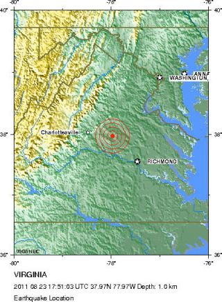 5.9 magnitude earthquake hit Virginia, shown here in this location map