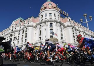 TOPSHOT The pack rides in front of Negrescos hotel in Nice during the 1665 km 7th stage of the 78th Paris Nice cycling race stage between Nice and Valdeblore La Colmiane on March 14 2020 The organizers of the 78th ParisNice cycling race announced on March 13 2020 the cancellation of the last stage scheduled for Sunday due to the coronavirus pandemic Photo by Alain JOCARD AFP Photo by ALAIN JOCARDAFP via Getty Images