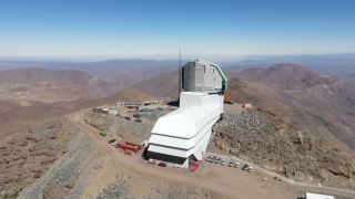 Drone view of Vera C. Rubin Observatory as of mid December 2020