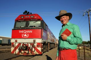 Michael in front of the train The Ghan
