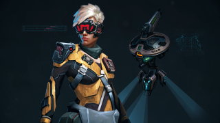Concept art from video game Cyber Knights: Flashpoint showing a woman in futuristic powered armor and visor with a hovering drone.