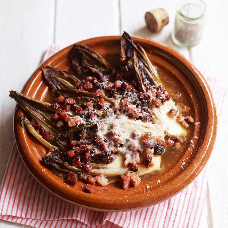 braised chicory with crispy bacon and parmesan