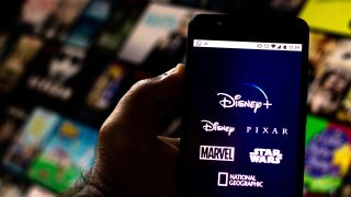 BRAZIL - 2019/08/20: In this photo illustration the Disney+ (Plus) logo is seen displayed on a smartphone.