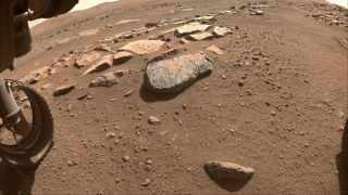 """NASA's Perseverance Mars rover will soon abrade the rock at the center of this image, dubbed """"Rochette,"""" allowing scientists and engineers to assess whether it would hold up to the rover's more powerful sampling drill."""