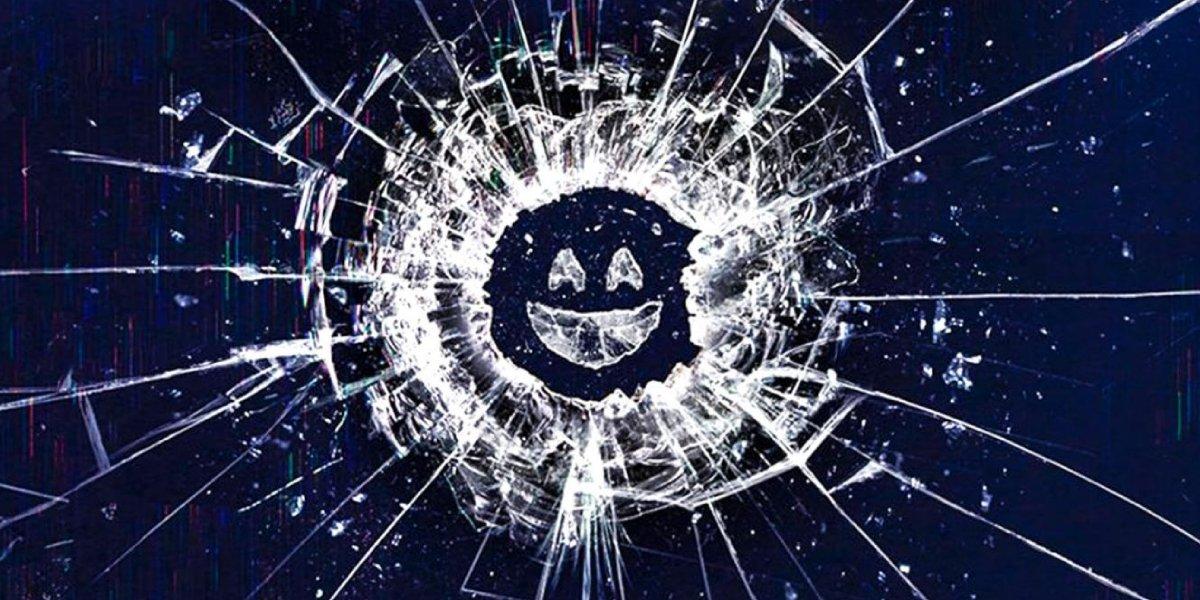 A marketing logo for the Netflix original anthology Black Mirror