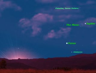 Venus, Jupiter and Moon sky map for June 17, 2012.