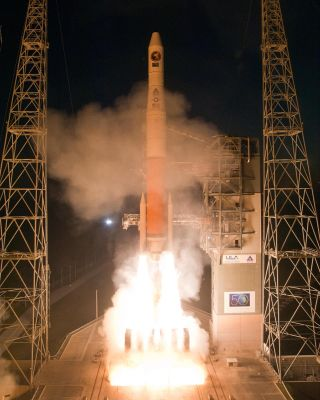 The United Launch Alliance Delta 4 launches with a National Reconnaissance Office payload at Space Launch Complex-37 at 6:38 p.m. EST on March 11, 2011 from Cape Canaveral Air Force Station.