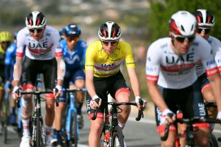Tadej Pogacar – in the leader's yellow jersey – is the UAE Team Emirates squad's protected rider at the 2020 Volta a la Comunitat Valenciana