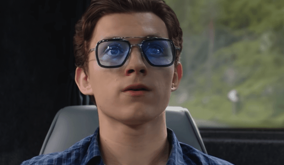 Tom Holland wearing Iron Man glasses in Spider-Man: Far From Home