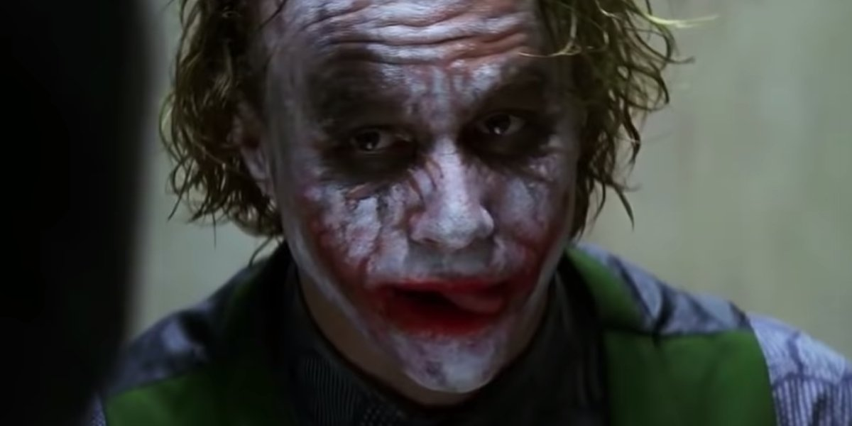 Heath Ledger licking his lips in The Dark Knight