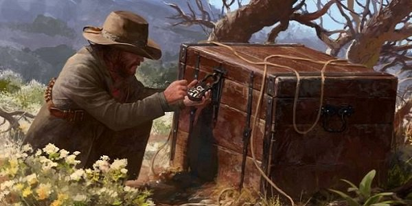 A cowboy loots a chest in Wild West Online concept art.