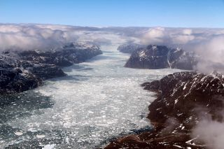 The last Operation IceBridge flight of the 2017 Arctic campaign passed over a fjord in southern Greenland, on May 12, 2017.