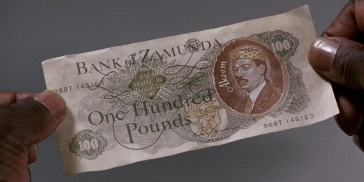 A one hundred pound note from Zamunda in Coming to America