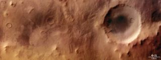 A crater in Mars's southern highlands.