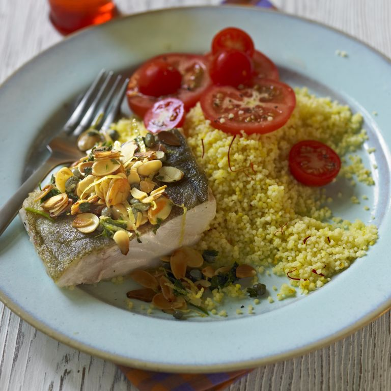 photo of Panfried Cod, Saffron Couscous, Almonds & Capers