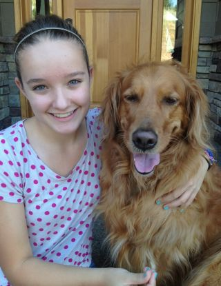 Brooke and her golden retriever Kayla.