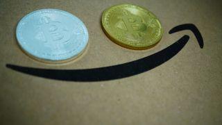 Amazon, Bitcoin stock image