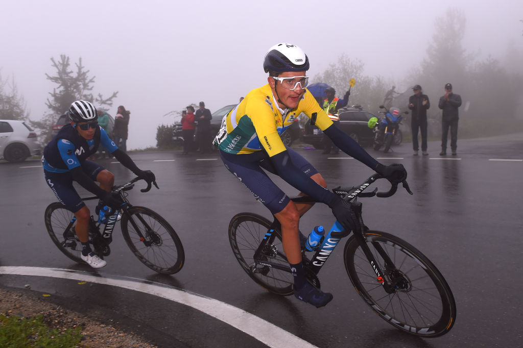 THYON 2000 LES COLLONS SWITZERLAND MAY 01 Marc Soler Gimenez of Spain and Movistar Team Yellow Leader Jersey during the 74th Tour De Romandie 2021 Stage 4 a 1613km stage from Sion to Thyon 2000 Les Collons 2076m TDR2021 TDRnonstop UCIworldtour on May 01 2021 in Thyon 2000 Les Collons Switzerland Photo by Luc ClaessenGetty Images