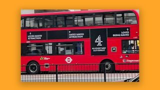 Channel 4 Naked Attraction ad on the side of a bus