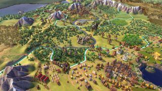 A grand Civilization 6 map with settlements, trees, and mountains