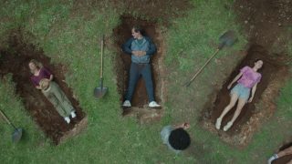 Nine Perfect Strangers Heather, Napoleon and Zoe Marconi lie in graves.