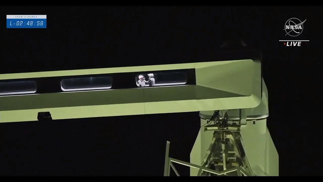Crew-2 astronauts prepare to board the Crew Dragon.