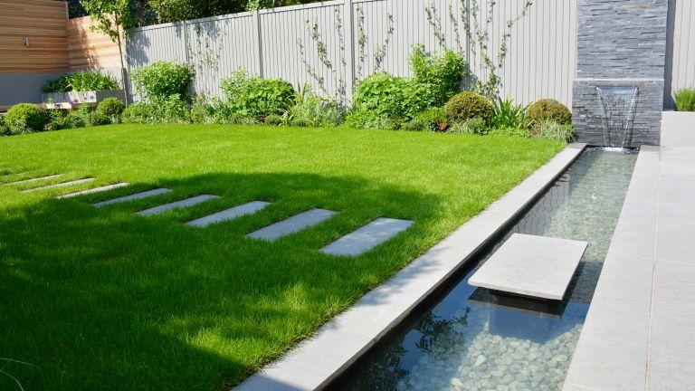 lawn edging ideas: tom howard design - water feature in garden