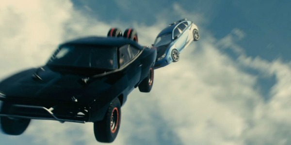 Furious 7's cars falling out of the sky