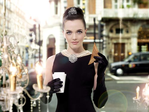 Victoria Pendleton poses as Audrey Hepburn in Breakfast at Tiffany's
