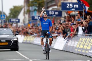 Italy's Elia Viviani wins the elite men's road race at the 2019 UEC Road European Championships in Alkmaar in the Netherlands