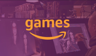 """The word """"games"""" above Amazon's trademark smile, set onto a purple screenshot of a game developer at work"""