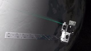 This artist's concept shows a representation of NASA's Ice, Cloud and land Elevation Satellite-2 (ICESat-2) and its six-beam scanning pattern.