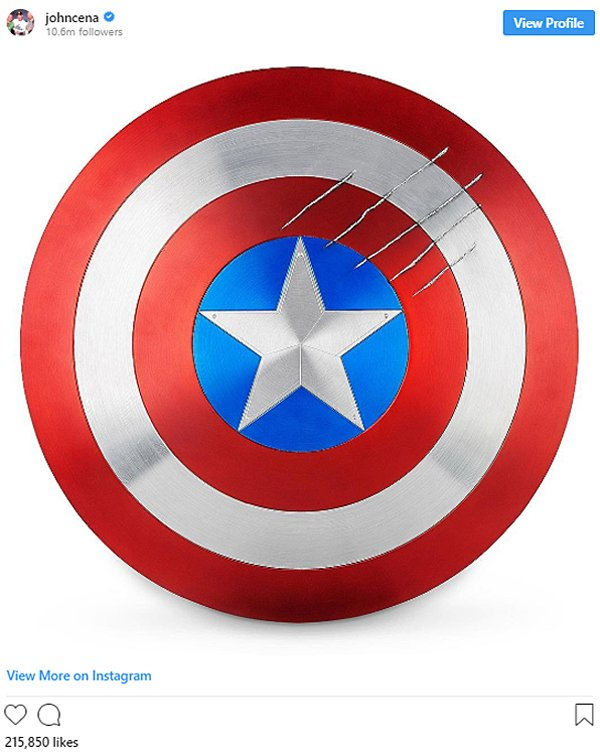 John Cena posted Captain America's shield on Instagram