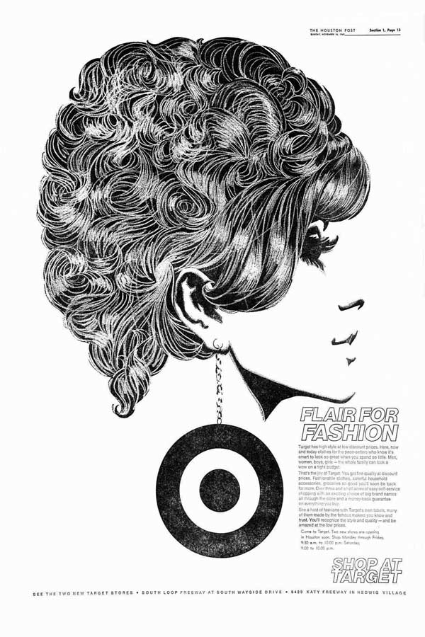 Illustration of a woman's face, side on, with a large earring doubling as the Target logo