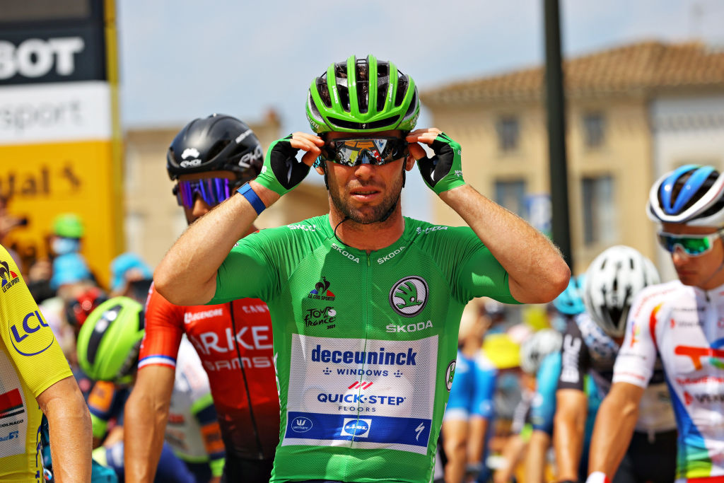QUILLAN FRANCE JULY 10 Mark Cavendish of The United Kingdom and Team Deceuninck QuickStep Green Points Jersey at start during the 108th Tour de France 2021 Stage 14 a 1837km stage from Carcassonne to Quillan LeTour TDF2021 on July 10 2021 in Quillan France Photo by Tim de WaeleGetty Images