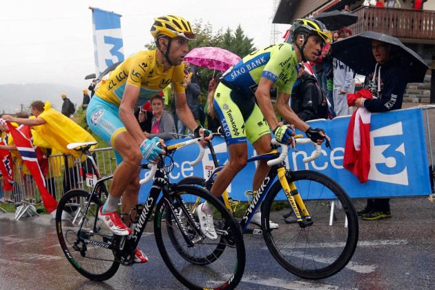 Vincenzo Nibali and Alberto Contador on stage eight of the 2014 Tour de France