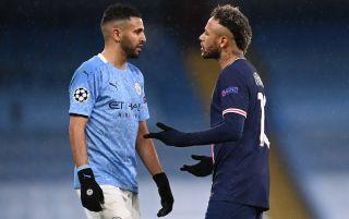 Manchester City's Riyad Mahrez and PSG's Neymar in conversation | PSG v Manchester City live stream