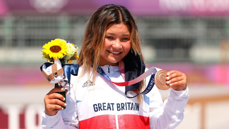 Sky Brown of Team Great Britain poses with her Bronze medal after the Women's Skateboarding Park Finals on day twelve of the Tokyo 2020 Olympic Games at Ariake Urban Sports Park on August 04, 2021 in Tokyo, Japan