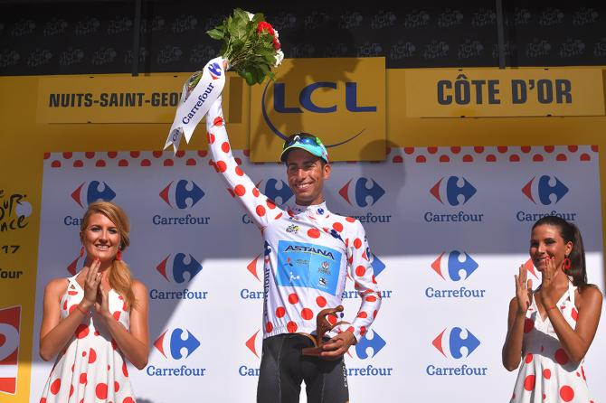 Fabio Aru in the mountains classification lead at the Tour de France