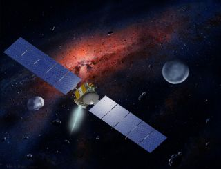 Artist's concept of NASA's Dawn spacecraft, which is closing in on the huge asteroid Vesta.
