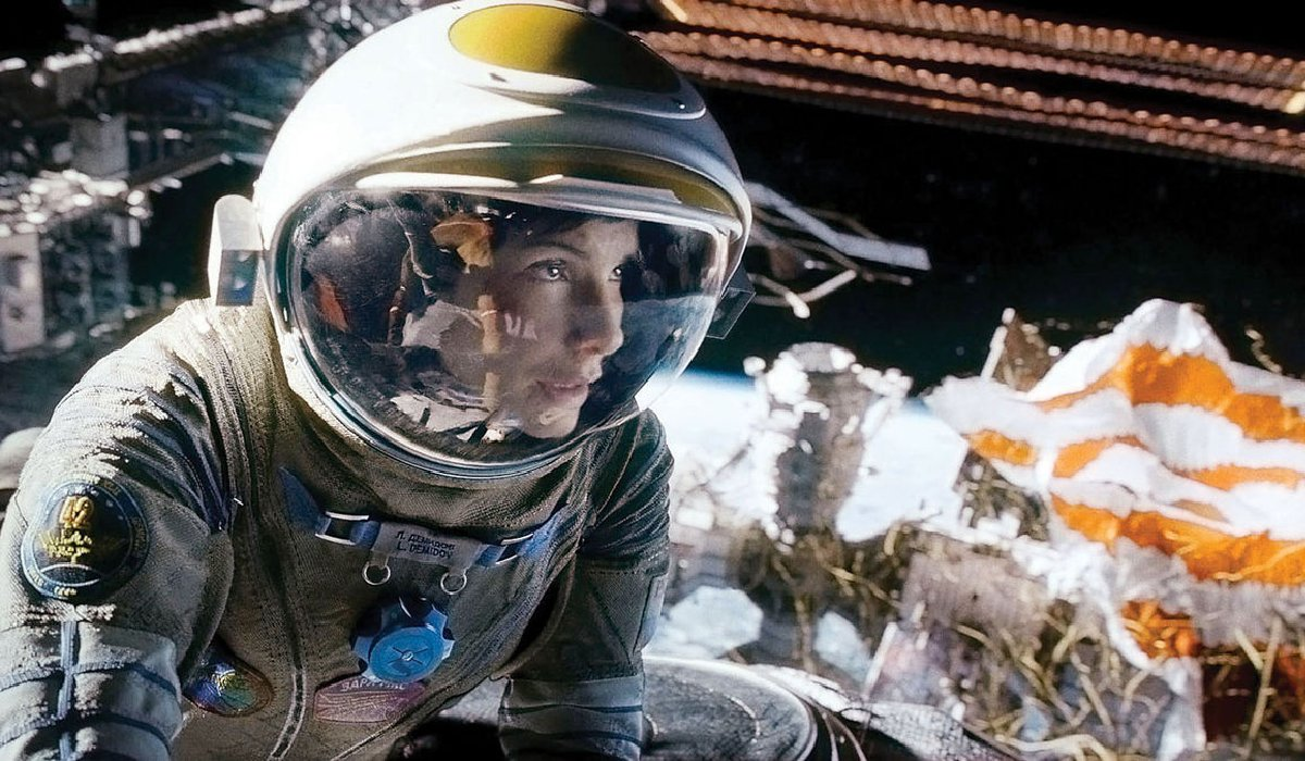 Gravity Sandra Bullock looks at danger ahead