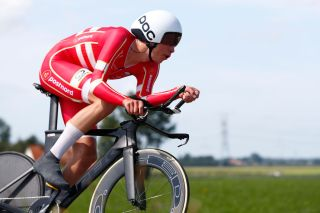 Denmark's Johan Price-Pejtersen races to victory in the under-23 men's time trial at the 2019 UEC Road European Championships in Alkmaar, in the Netherlands