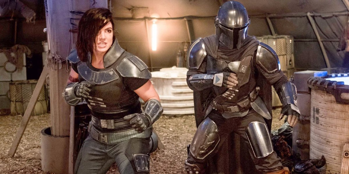 Gina Carano and Pedro Pascal in The Mandalorian