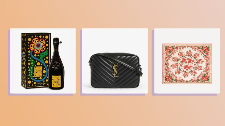 Three of the best Christmas gifts for your wife 2021 from Veuve, YSL, and Liberty London shown side by side