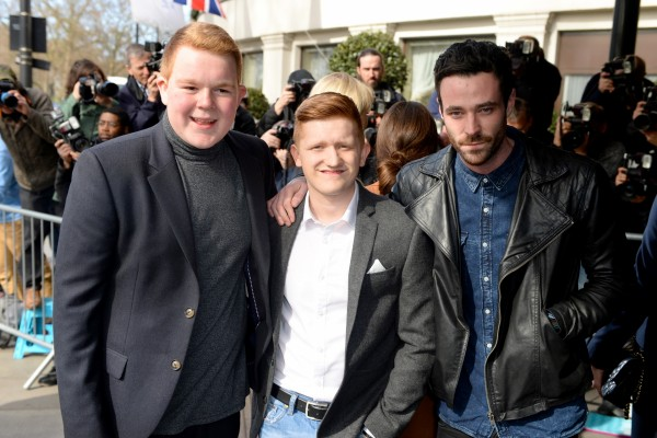 Corrie's Sean Ward with co-stars Colson Smith and Sam Aston at the TRIC awards (Doug Peters/EMPICS)
