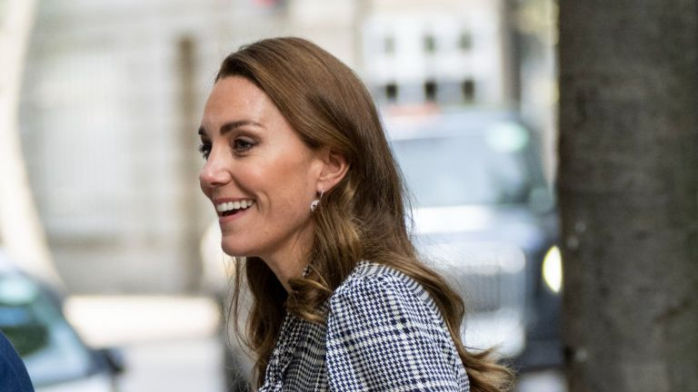 Kate Middleton's court shoes and gray dress during public appearance.