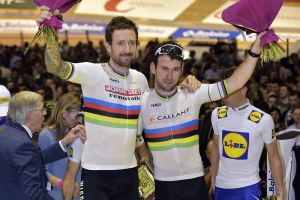 Mark Cavendish and Bradley Wiggins at the 2016 Ghent Six Day