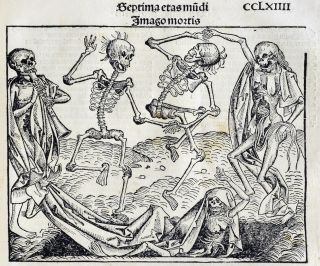 The Black Death was a devastating medieval epidemic during which 50-60% of the people in Europe. This illustration depicts the diseased: Skeletons are rising from the dead for the dance of death.